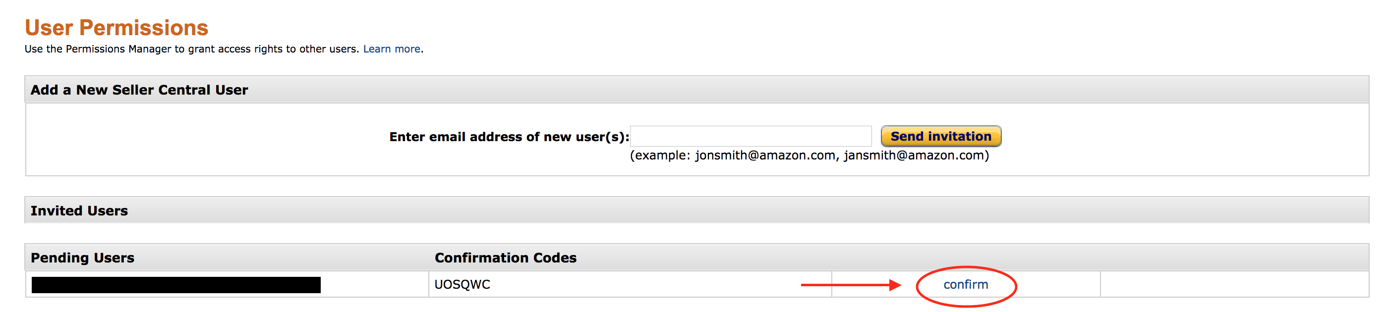 ... Return To The Primary SC Account User Permissions Page And Locate The  New PENDING Sub Account And Click CONFIRM