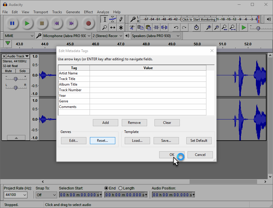how to break up mp3 files with audacity
