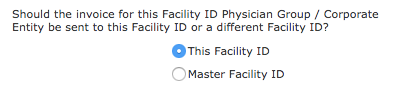 Registration - Send Invoice to This Facility ID