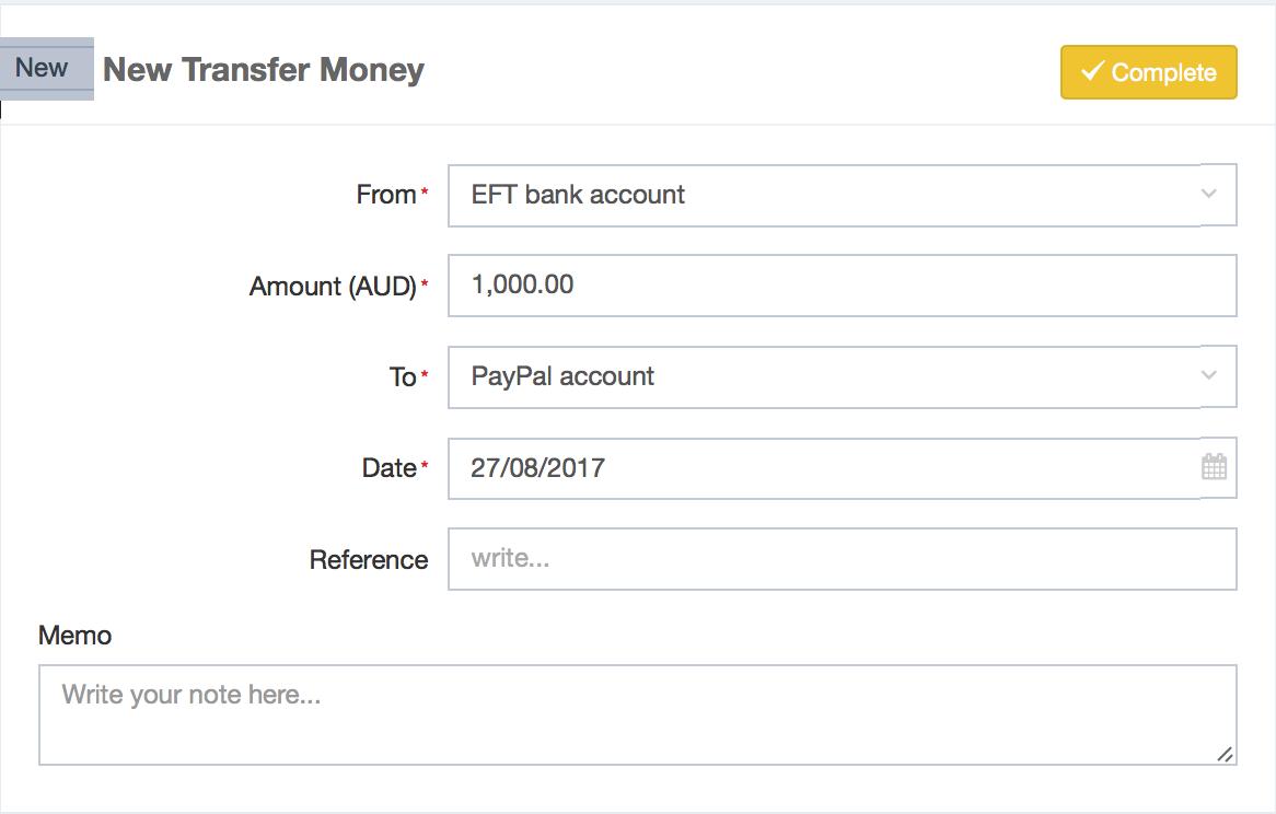 Money Tasks (Spend Money, Receive Money, Transfer Money) : DEAR