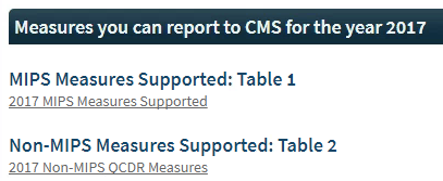 MIPS Quality Measures Links