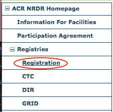 Registries Menu - Registration Item