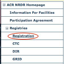 Registries Menu - Registration Item