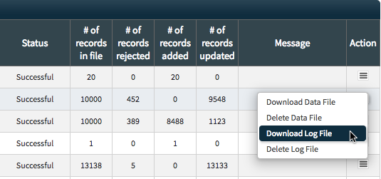 MIPS Portal - Upload Status Table - Download Log File