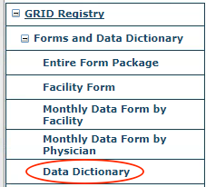 GRID Forms and Data Dictionary Menu
