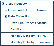 GRID Data Collection Menu
