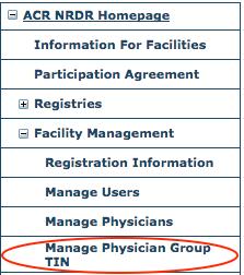 Facility Management menu - Manage Physician Group TIN