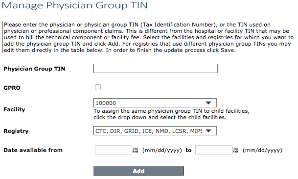 Manage Physician Group TIN page