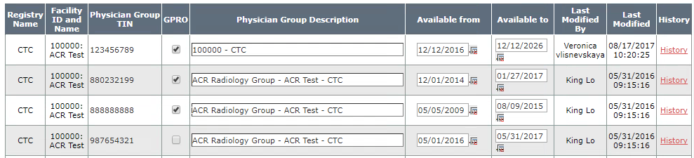 Manage Physician Group TIN - Table