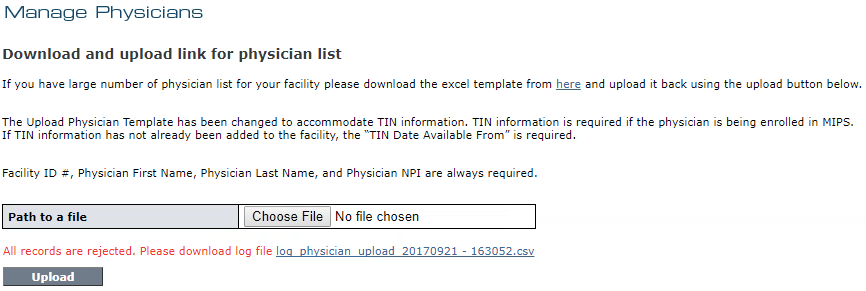 Manage Physicians - Upload Errors and Log File Link