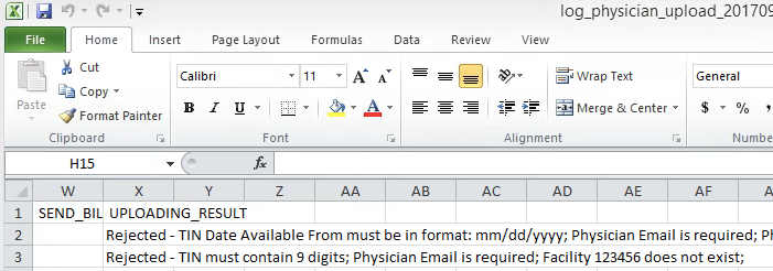Manage Physicians - Upload Error Examples