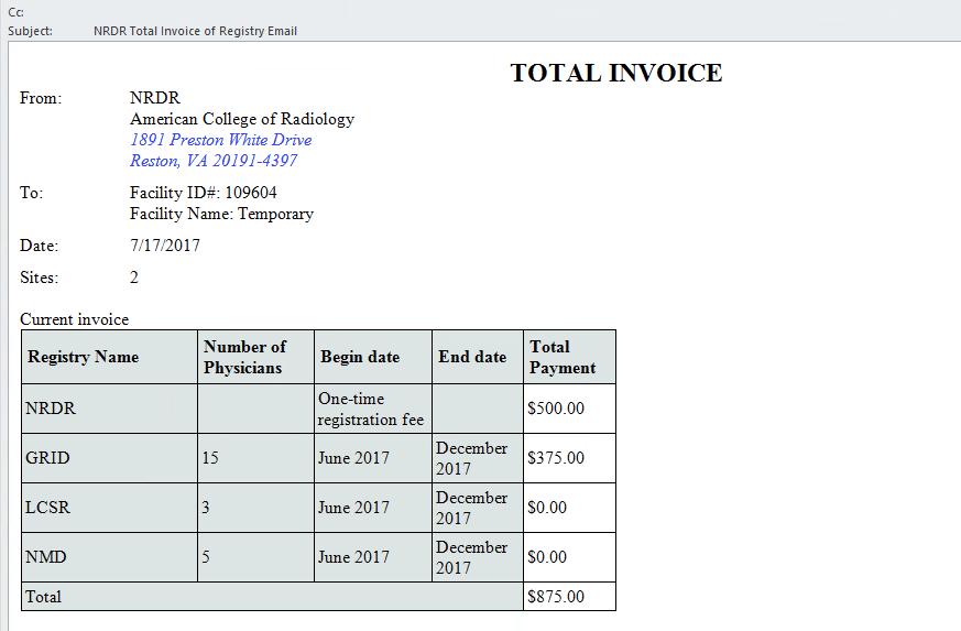 NRDR Sample Invoice