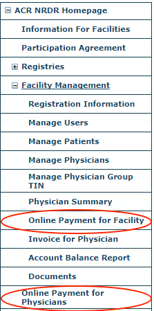 Online Payment Menu Items