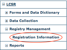 LCSR Registry Information Menu Item