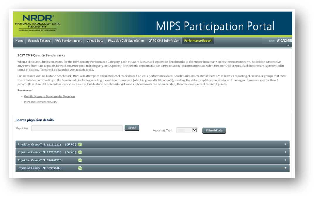 MIPS Portal - Performance Report Page
