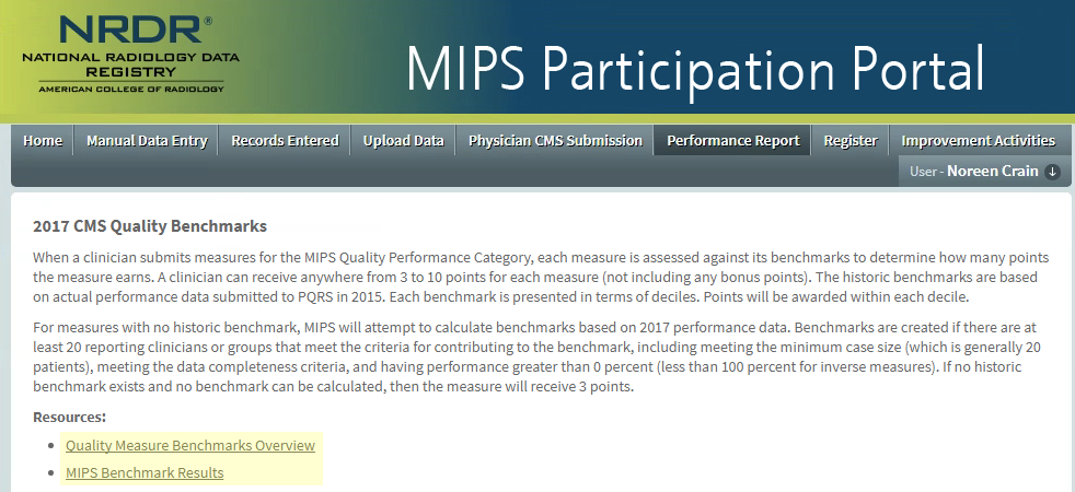 MIPS Portal - Performance Report Resources Links