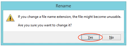 Rename Filename Extension Warning Message