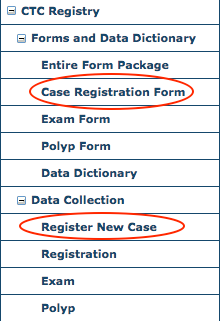 CTC Forms and Data Dictionary & Data Collection Menus