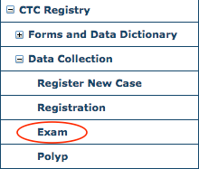 CTC Data Collection Menu - Exam