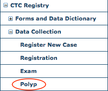 CTC Data Collection Menu - Polyp