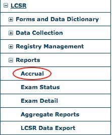 LCSR Reports Menu - Accrual