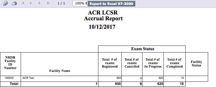 LCSR Accrual Report