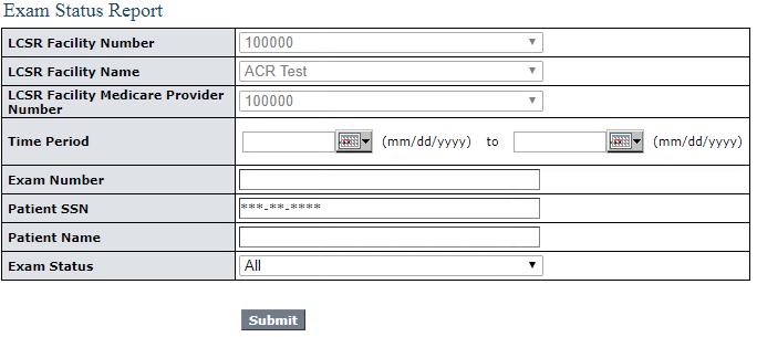 LCSR Exam Status Report Filter