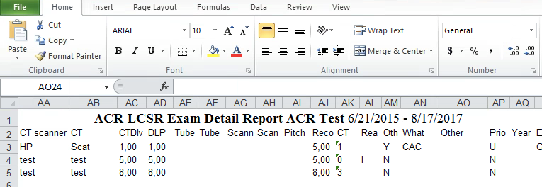 LCSR Exam Detail Report