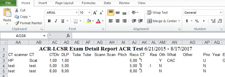 LCSR Exam Detail Report