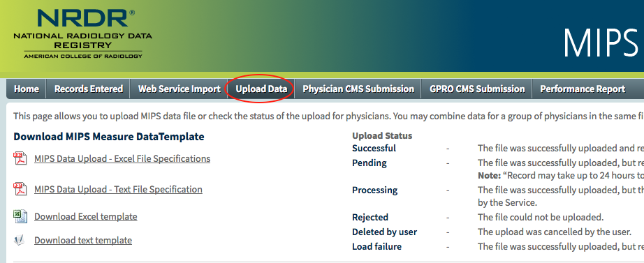 MIPS Portal - Upload Data Templates