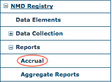 NMD Reports Menu - Accrual Report