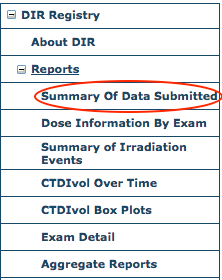 DIR Reports Menu - Summary of Data Submitted