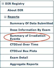 DIR Reports Menu - Summary of Irradiation Events