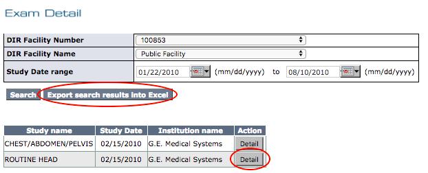 DIR Exam Detail Report Filter