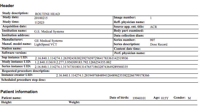 DIR Exam Detail - Sample 1