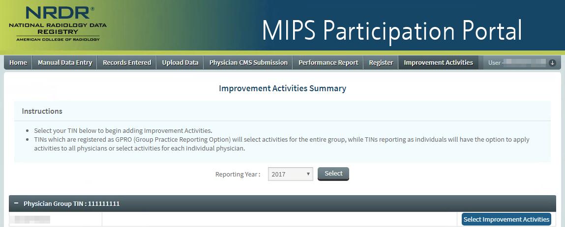 MIPS Portal - IA Summary Page