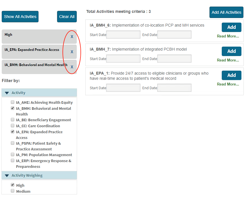 MIPS Portal - IA Selected Activities Filters