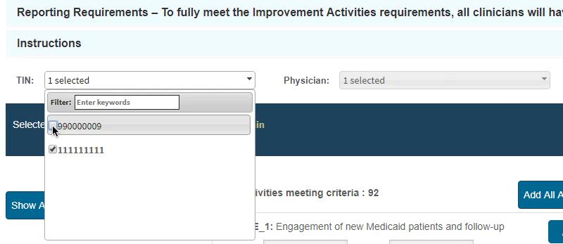 MIPS Porta - IA Select Activities - Pick Lists