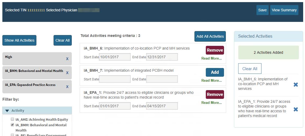 MIPS Portal - IA Selected Activities