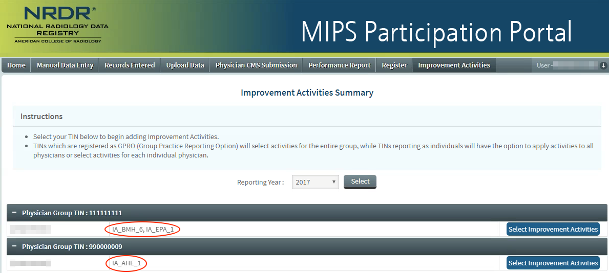 MIPS Portal - IA Summary Page - Activities Selected