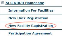 NRDR Menu - New Facility Registration
