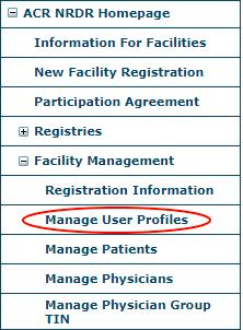 NRDR Manage User Profiles Menu Item