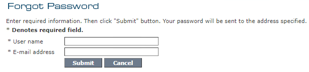 My Account - Forgot Password Page