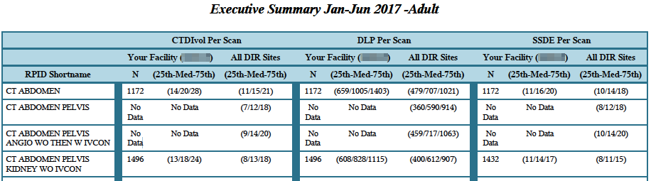 DIR Exec Summary – Executive Summary Table