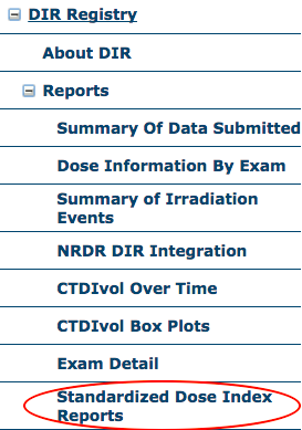 DIR Standardized Dose Index Reports