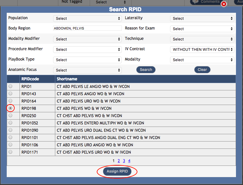 DIR ENMT Example 1 - Search RPID Pop Up Box RPID Selected