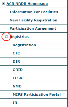 NRDR Registries Menu - Expanded