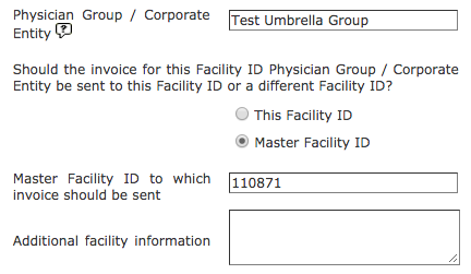 Registration - Child to Master Facility ID