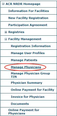 NRDR Manage Physicians