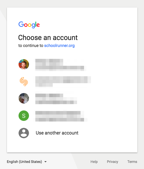 Google login prompt
